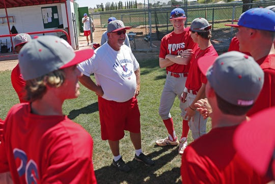 Mountain View High head coach Mike Thiel talks with his players during practice n. Mesa April 22, 2019. He will be coaching his last game during the 6A baseball tournament.