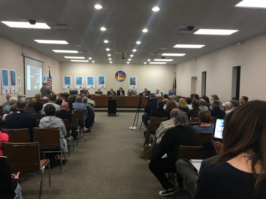 Clay Township residents packed a planning commission meeting, including standing room only in the back of the room, on Wednesday, April 24, 2019.