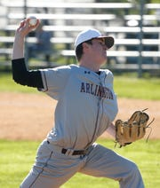 Arlington's Andrew Cubberly pitches during Wednesday's game versus Roy C. Ketcham on April 24, 2019.