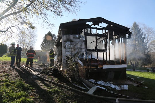 Multiple fire agencies responded to a structure fire in Dover Plains, which destroyed a trailer home Thursday morning on April 25, 2019.
