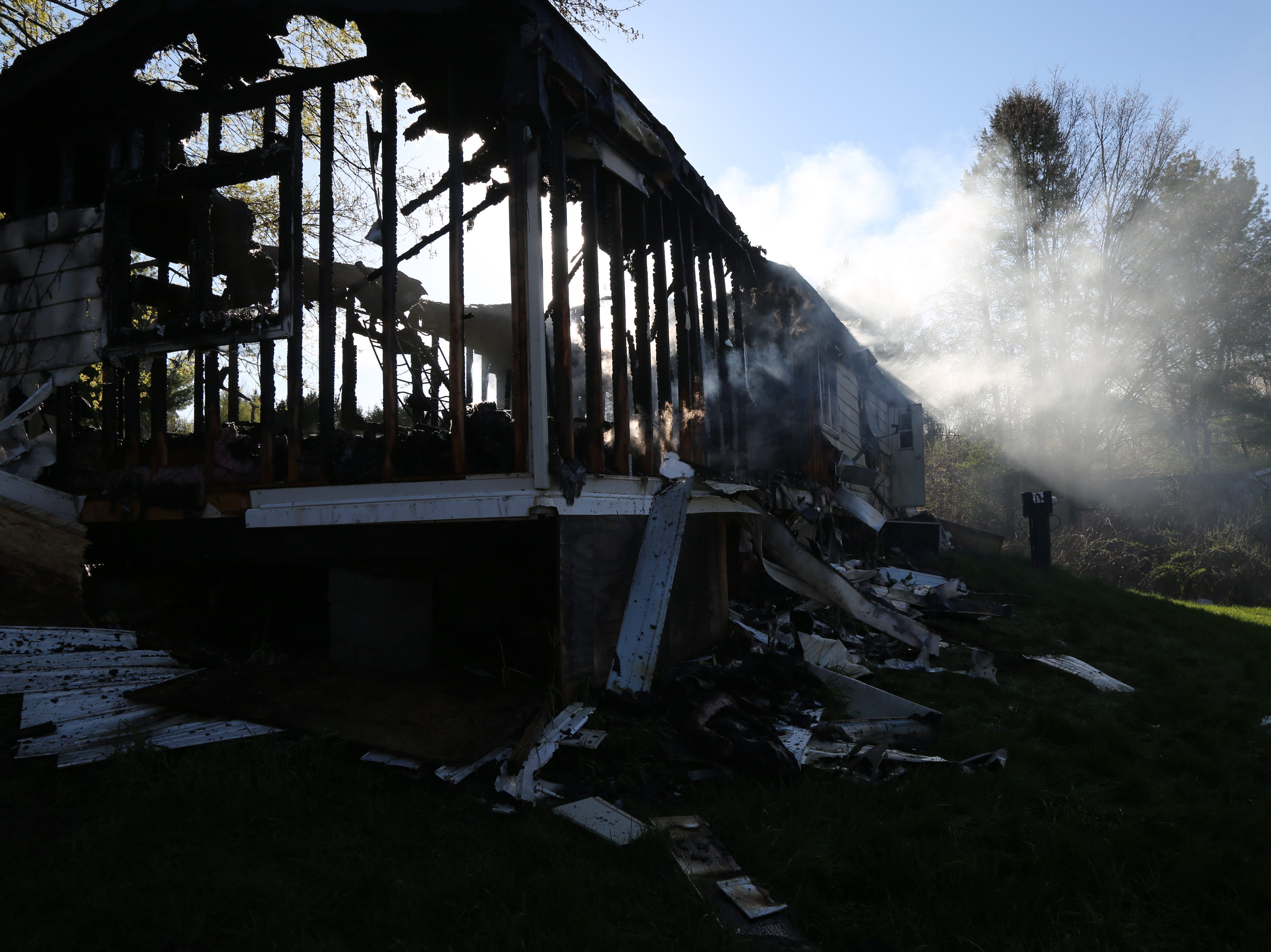 A Dover Plains trailer home was destroyed in a fire Thursday morning as seen on April 25, 2019.