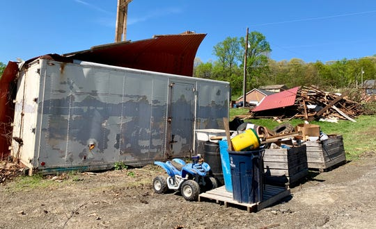 A barn at Andrews Farm in St. Thomas Township was completely demolished following a tornado that touched down in the area the evening of Friday, April 19. The wind funnel sent debris flying through farm, damaging trees and blowing them over onto the ground.