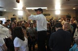 Democratic candidate for President Beto O'Rourke visits Bibo Coffee in Reno on April 25, 2019.