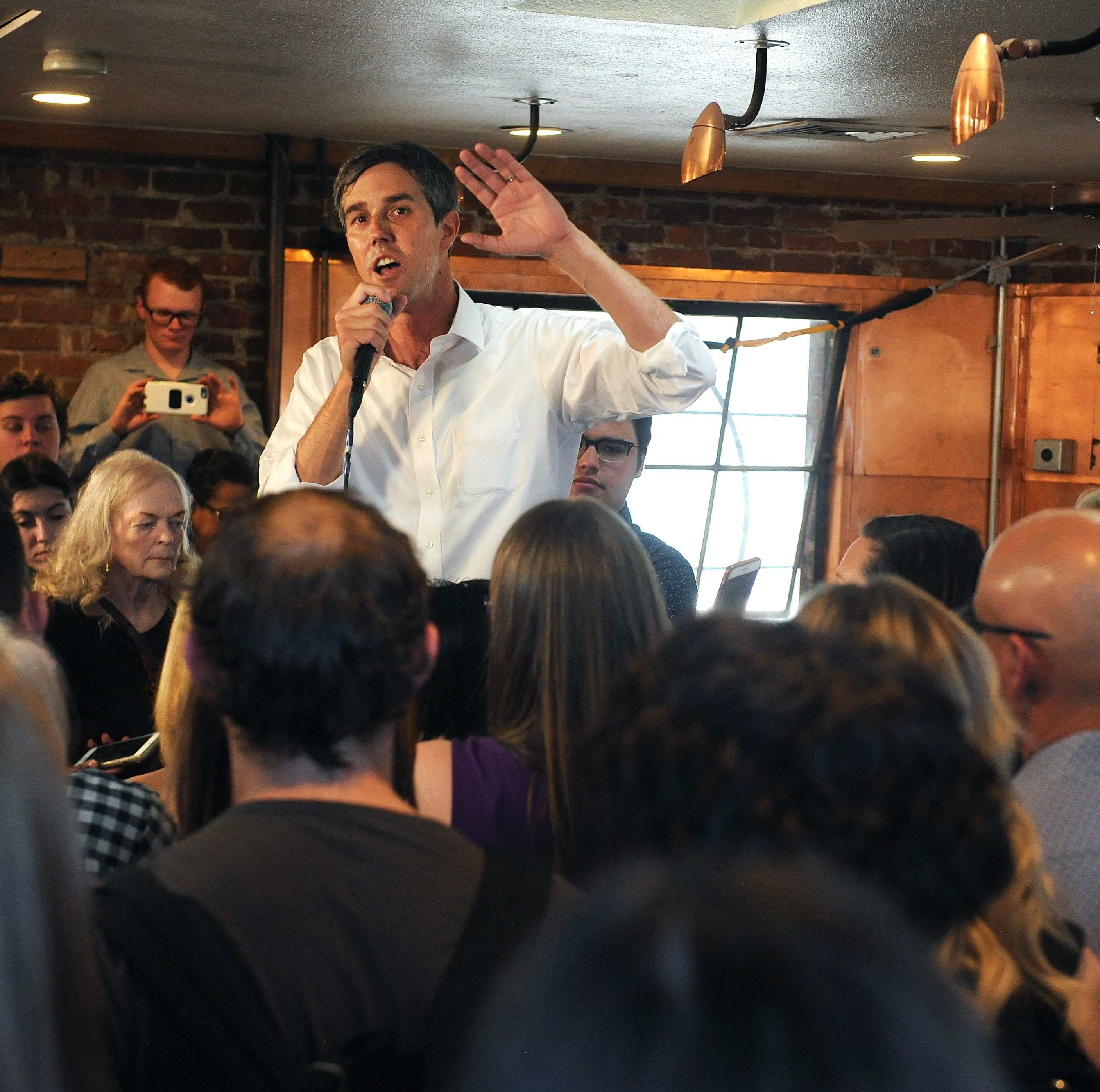 Democratic candidate for President Beto O'Rourke speaks during a campaign stop at Bibo Coffee in Reno on April 25, 2019.