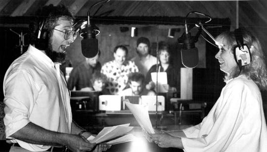 May 1987: Actors Bruce Siegel and Sally Kay Cohen voice their parts for a Hebrew National meat products advertisement at PCI Recording Studios on Atlantic Avenue.