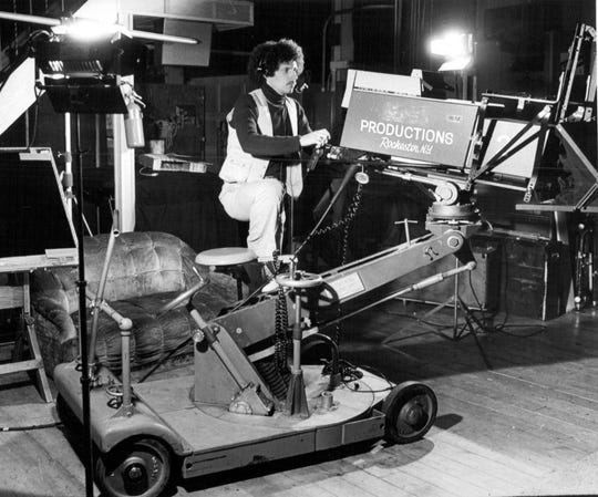 November 1978: Malcolm Luckin, producer and director for PCI Recording Service in Rochester, checks out one of the cameras set to shoot at PCI studios on Atlantic Avenue.