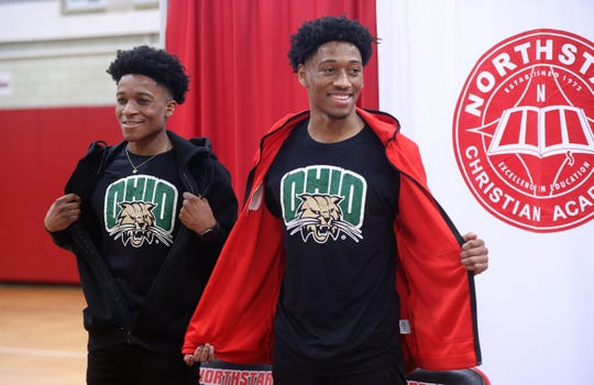 Miles Brown (right) and his twin brother Michael reveal they will go to Ohio University next school year.  Miles  will get an athletic scholarship  to play basketball  and Michael will be a walk-on. Miles broke the Section V scoring record during his years at Northstar Christian Academy.