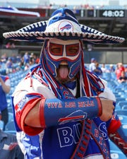 Buffalo Bills fan, Pancho Billa, posed for a photo prior to the game against the Los Angeles Chargers on Sunday, Sept. 16, 2018, in Orchard Park.