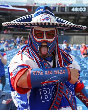 """Ezra Castro, in his Buffalo Bills superfan persona of """"Pancho Billa,"""" poses for a photo before the game against the Los Angeles Chargers on Sunday, Sept. 16, 2018, in Orchard Park, N.Y."""