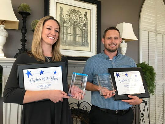 Stacy Fischer of Bowie Elementary and Kevin McSpadden of Central High School were named Teachers of the Year at a ceremony Wednesday, April 24.