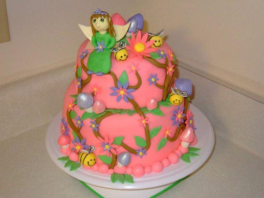 Sabrina Blasingame started making cakes in 2010. Here is her first cake, a fairy birthday cake for her daughter in 2010.