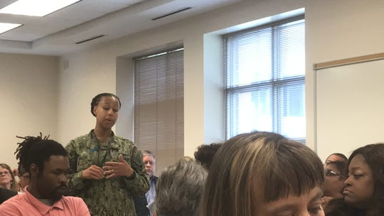 Chief Toni Walker of the U. S. Navy Surface Combat Systems Center in Wallops Island, Virginia speaks during a town hall meeting with Sen. Mark Warner and Rep. Elaine Luria in Melfa, Virginia on Wednesday, April 24, 2019.