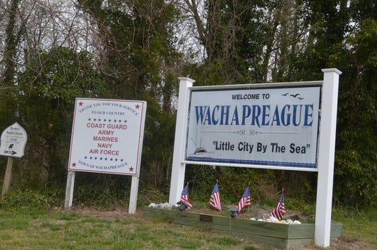 The sign welcomes visitors to the little town of Wachapreague on Virginia's Eastern Shore.