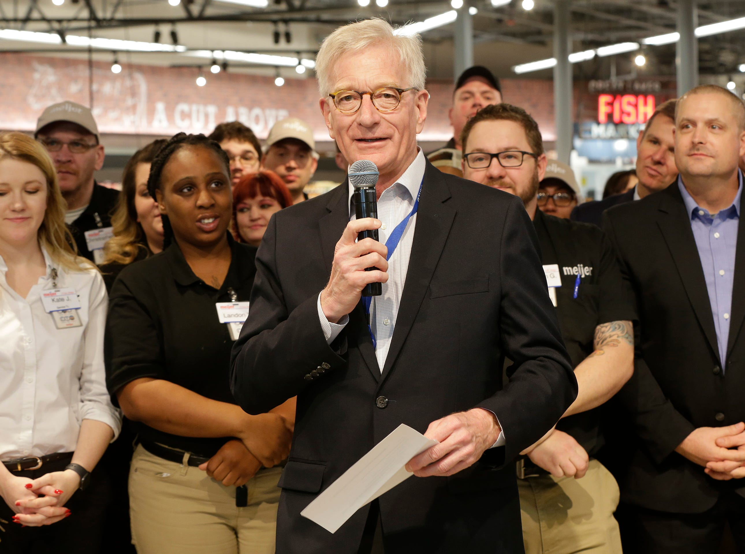 Meijer Executive Chairman Hank Meijer at Meijer, Thursday April 25, 2019, in Sheboygan, Wis. The 155,000-square-foot supercenter has 300 employees on opening day.