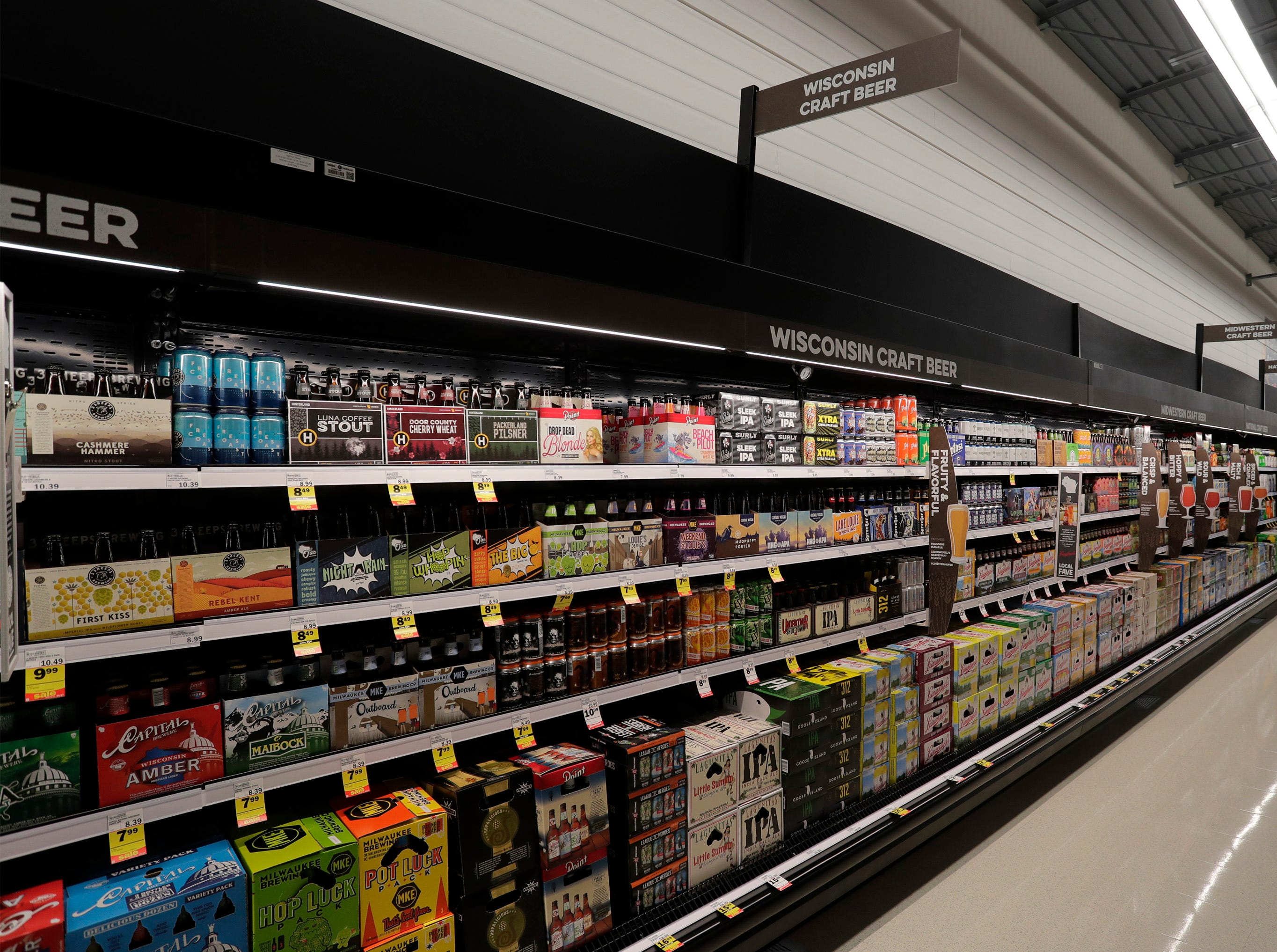 The Wisconsin Craft Beer area at Meijer, Thursday April 25, 2019, in Sheboygan, Wis. The 155,000-square-foot supercenter has 300 employees on opening day.