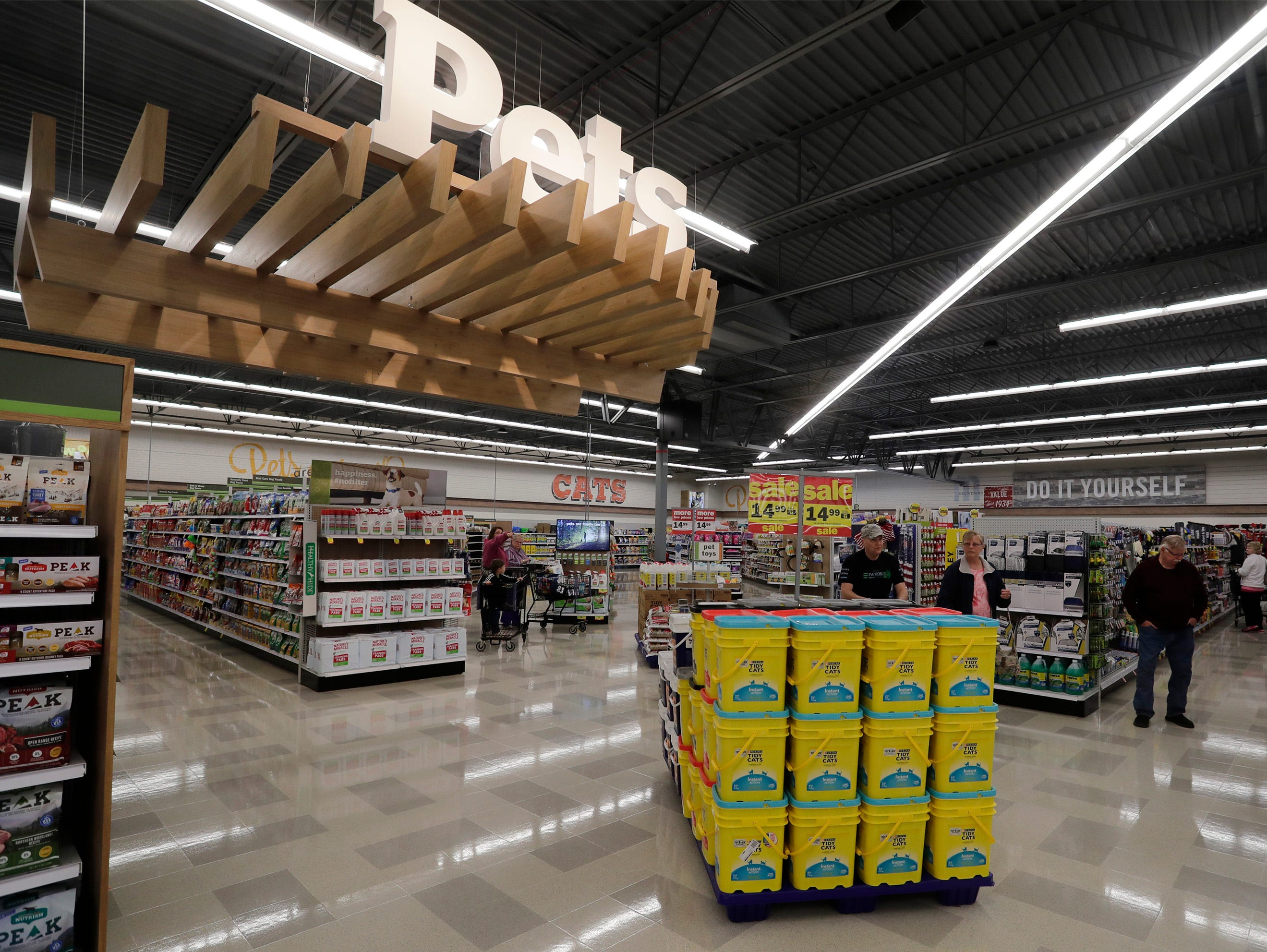 The pets and do it yourself area at Meijer, Thursday April 25, 2019, in Sheboygan, Wis. The 155,000-square-foot supercenter has 300 employees on opening day.