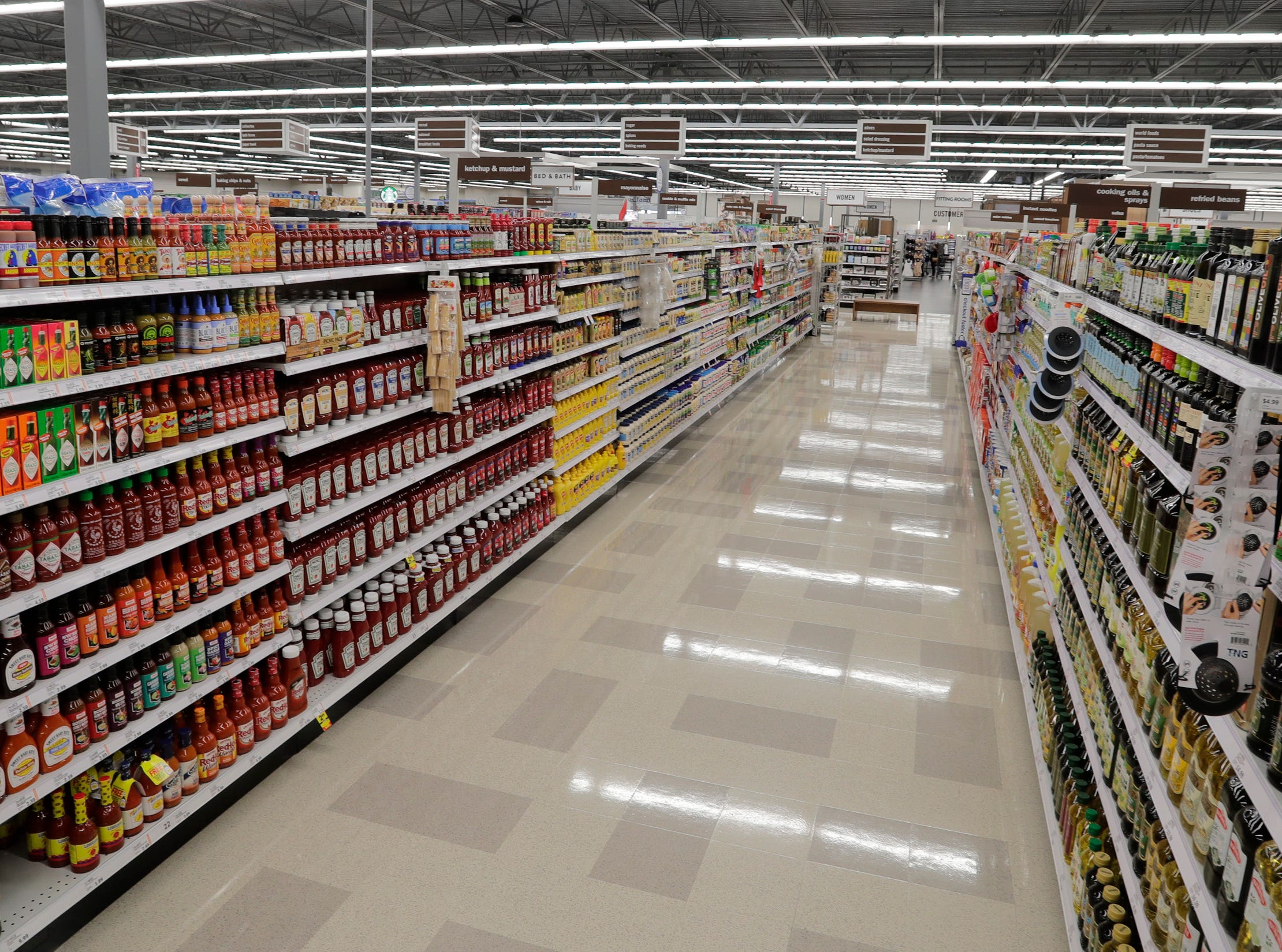 A view in the condiment area at Meijer, Thursday April 25, 2019, in Sheboygan, Wis. The 155,000-square-foot supercenter has 300 employees on opening day.