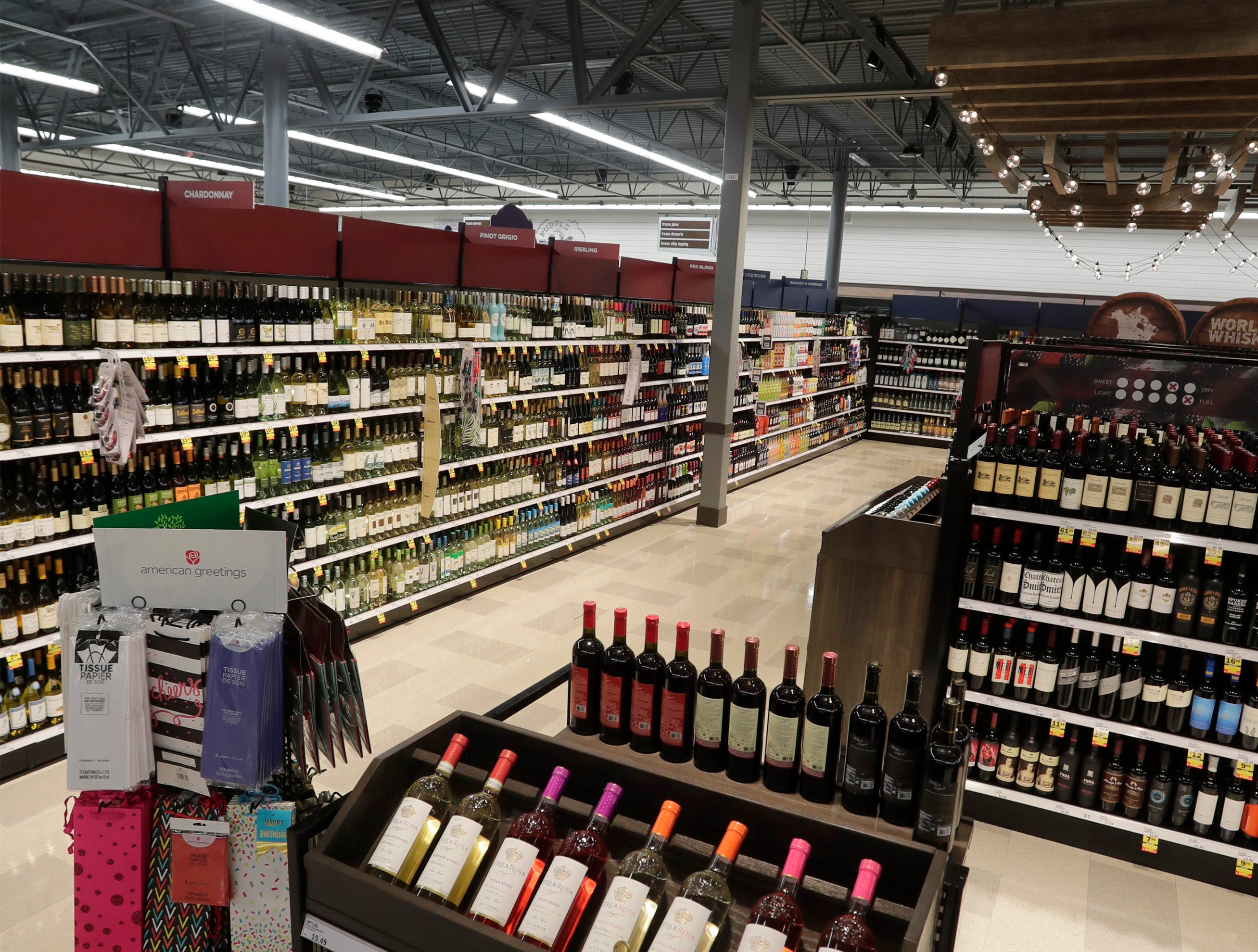 The liquor area at Meijer, Thursday April 25, 2019, in Sheboygan, Wis. The 155,000-square-foot supercenter has 300 employees on opening day.