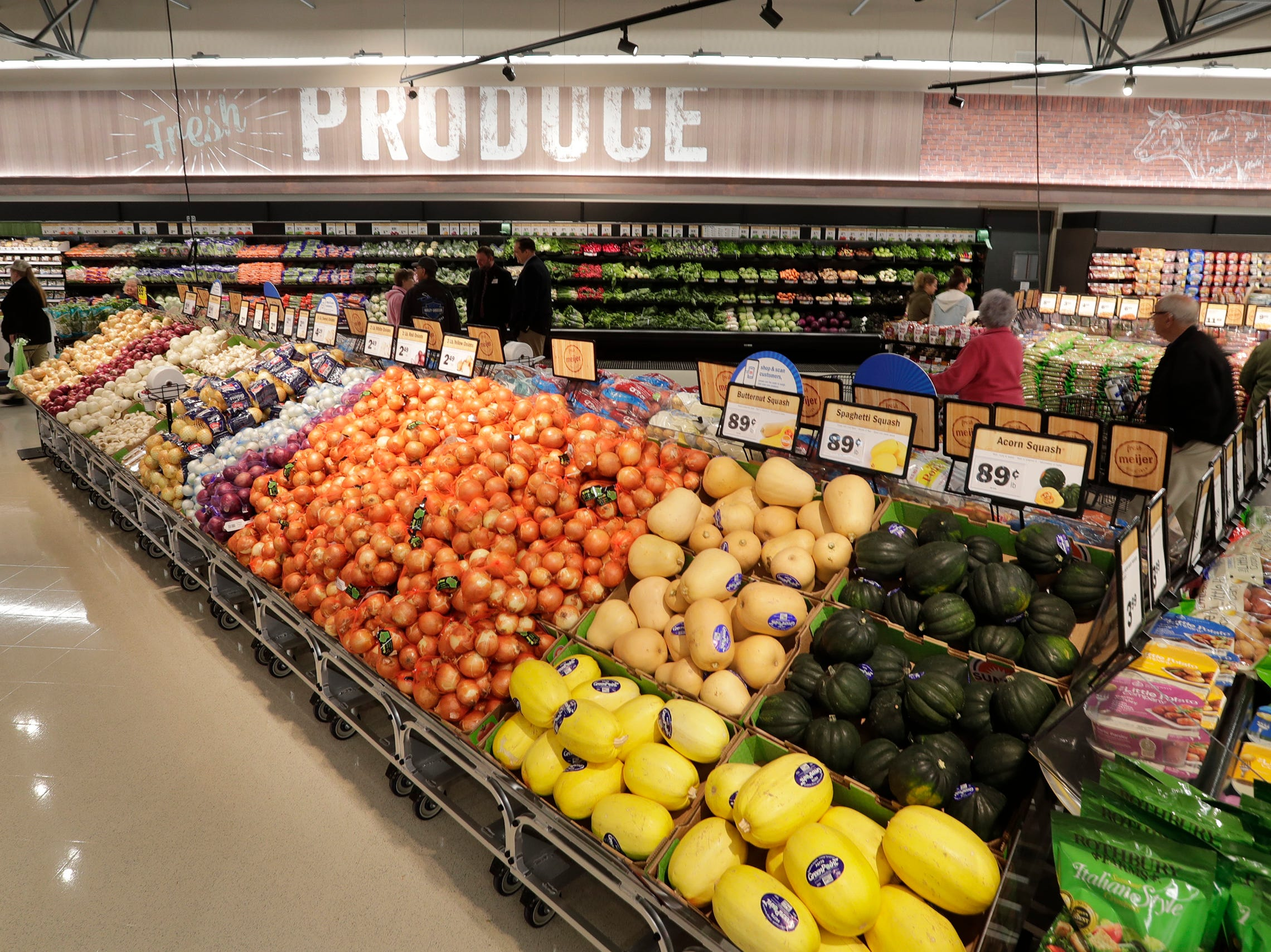 A view of the produce area at Meijer, Thursday April 25, 2019, in Sheboygan, Wis. The 155,000-square-foot supercenter has 300 employees on opening day.