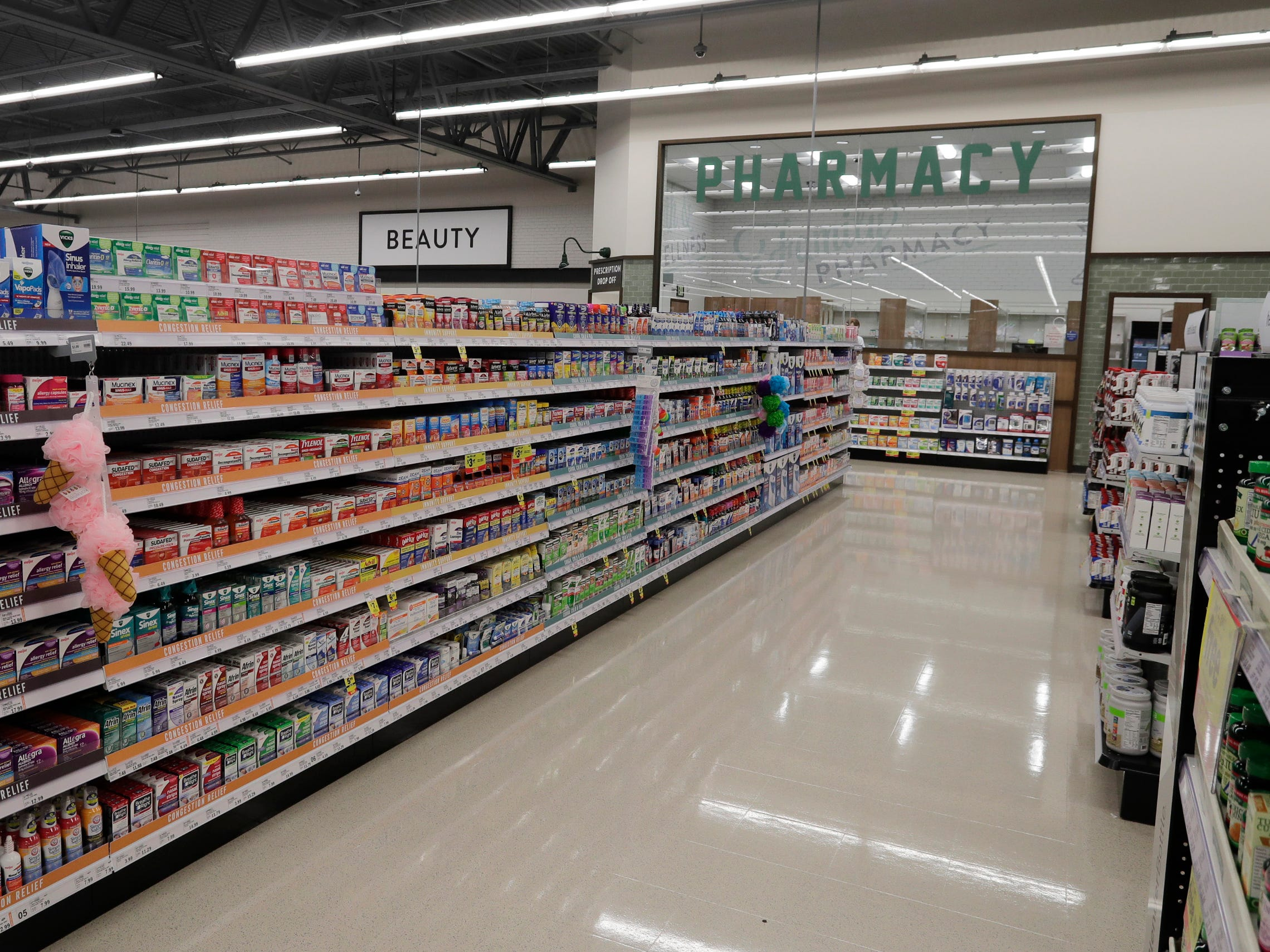 A view at the pharmacy at Meijer, Thursday April 25, 2019, in Sheboygan, Wis. The 155,000-square-foot supercenter has 300 employees on opening day.