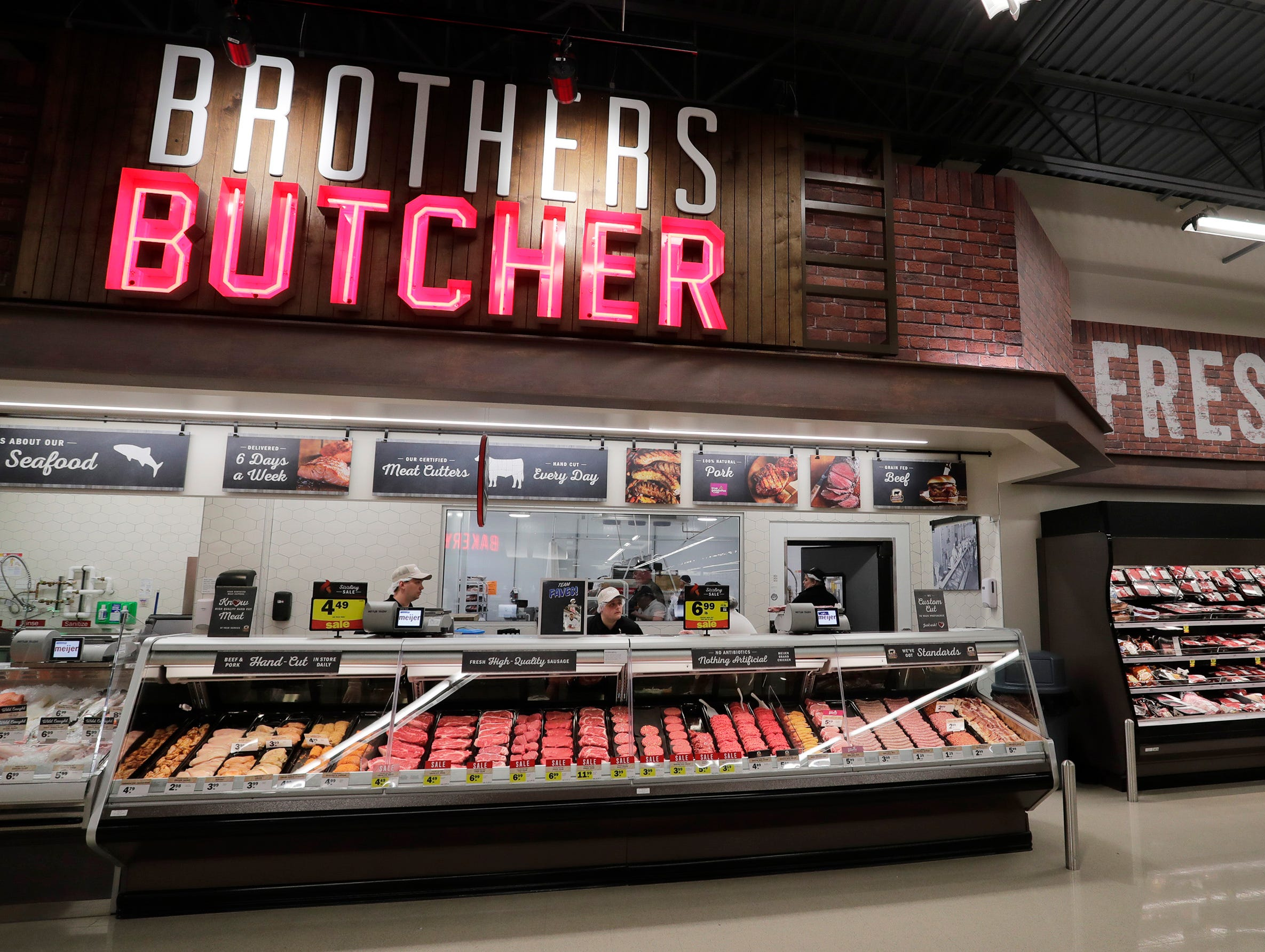 The meat area at Meijer, Thursday April 25, 2019, in Sheboygan, Wis. The 155,000-square-foot supercenter has 300 employees on opening day.