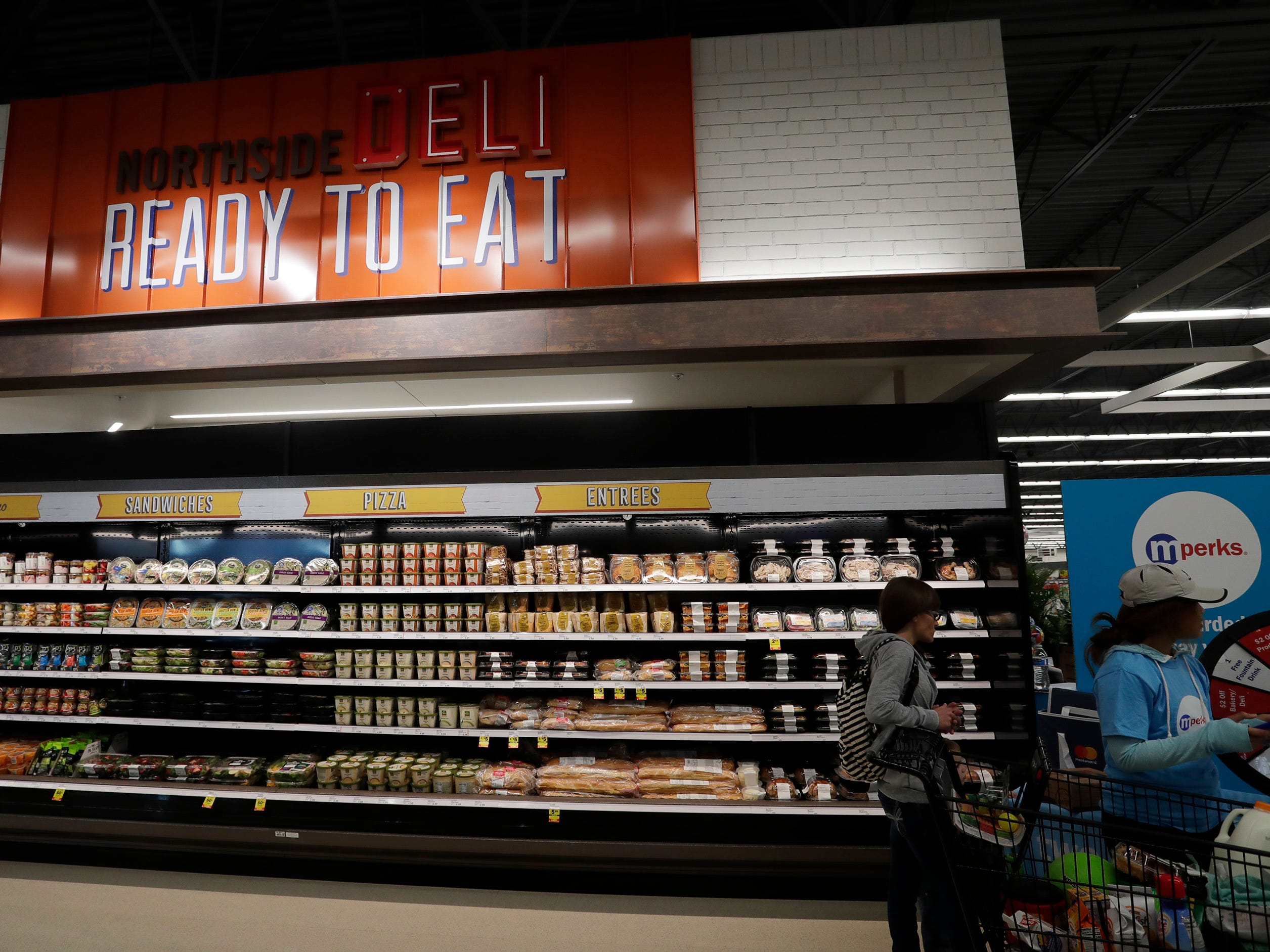 The ready to eat aisle at Meijer, Thursday April 25, 2019, in Sheboygan, Wis. The 155,000-square-foot supercenter has 300 employees on opening day.