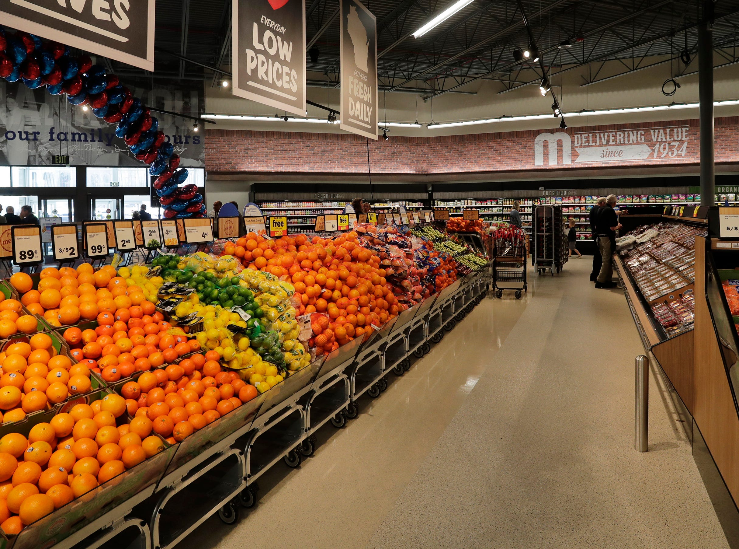 The fruit area at Meijer, Thursday April 25, 2019, in Sheboygan, Wis. The 155,000-square-foot supercenter has 300 employees on opening day.
