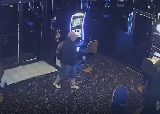 Suspect in casino theft is seen on surveillance camera at Red River South Casino.