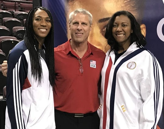 U.S. Women's National Volleyball team coach Karch Kiraly with Olympians Foluke Akinradewo and Danielle Scott at the Bossier City CenturyLink Center Thursday.