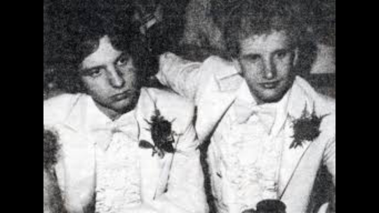 Randy Rohl (left) and Grady Quinn (right) attending the 1979 Lincoln High School prom.