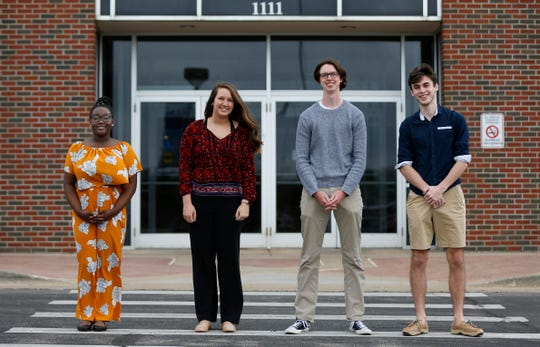 Four Springfield high school seniors (from left) Neela Sabb, Cora Grimm, Alex Carlson, and Jacob Downton enrolled in the Middle College program will graduate in May with their high school diploma and their associate degree from OTC.