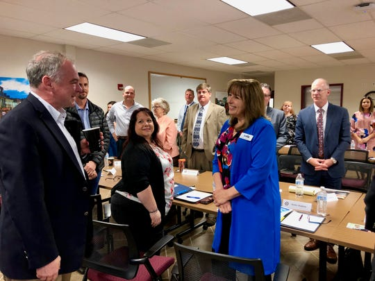 Sen. Tim Kaine met with local educators and business representatives in Fishersville on April 25, 2019.