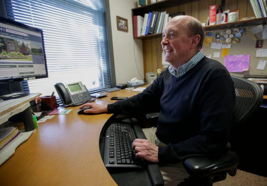 Stevens Point Parks and Recreation Director Tom Schrader works in his office on Monday, April 23, 2019, in Stevens Point, Wis. Schrader will retire, effective May 1, after serving as director since 1986. Tork Mason/USA TODAY NETWORK-Wisconsin