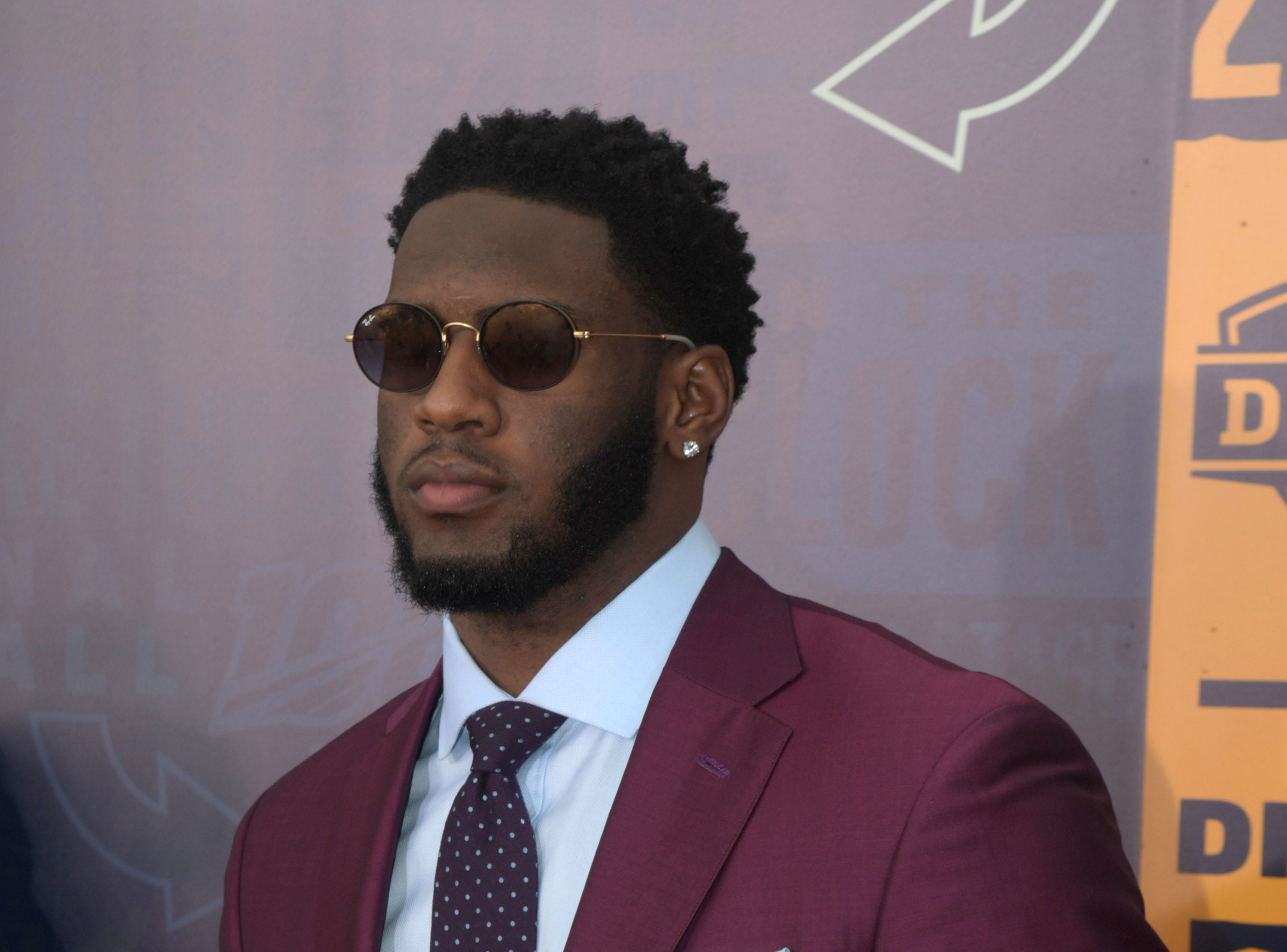 Apr 25, 2019; Nashville, TN, USA; Brian Burns (Florida State) on the red carpet prior to the first round of the 2019 NFL Draft in Downtown Nashville. Mandatory Credit: Kirby Lee-USA TODAY Sports