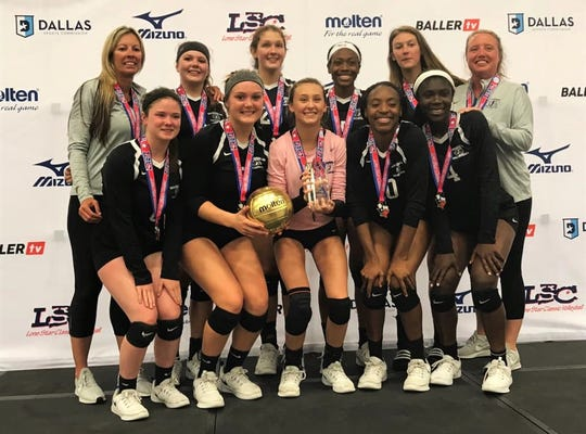 Tallahassee Jrs Volleyball's  17 Nike Pro team has won the Savannah Showdown and Jax Jam this spring and just secured its bid to Nationals in July. Bottom row, L-R: Sam Kimbler, Melanie Oglesby, Ansley Dull, Jada Rhodes, Shania Cromartie; Top row, L-R: head coach Angie Strickland, Hannah Bryan, Maggie Metcalf, A'Nylah Cobb, Sophie O'Donnell, assistant coach Elizabeth Andrews-Potts