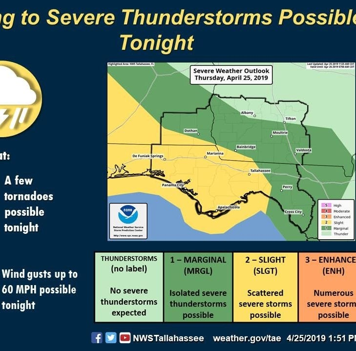 Tallahassee could see severe storms tonight