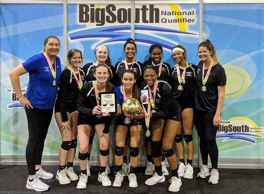 Tallahassee Jrs. Volleyball's 16 Nike Pro team won the Big South National Qualifier and a bid to USA Volleyball Junior Nationals end of June. The team has won two straight national qualifiers, a club record. Bottom row, L-R: Amanda Ray, Hallie Vied, Alexa Washington; Top row, L-R: head coach Erica Bunch, Delaney Atwood, Madison Evans, Emilee Brown, Cailin Demps, Baby Cooksey, assistant coach Kathryn Leckinger; Pictured on iPhone: Macy Maxwell