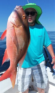Mutton snapper, like this 12-pounder caught off Sebastian Inlet aboard Surf Rider charters April 24, have been feeding aggressively as they prepare to spawn.