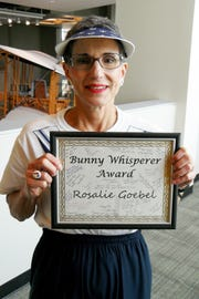 """Rosalie Goebel is known as the """"Bunny Whisperer"""" at the Humane Society of the Treasure Coast."""