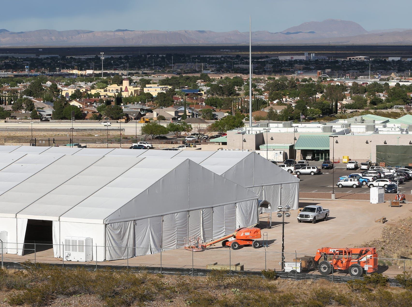 Two tents have been erected at the U.S. Border Patrol offices on Hondo Pass. The center is in response to an increased number of Central and South Americans arriving in the United States requesting asylum.