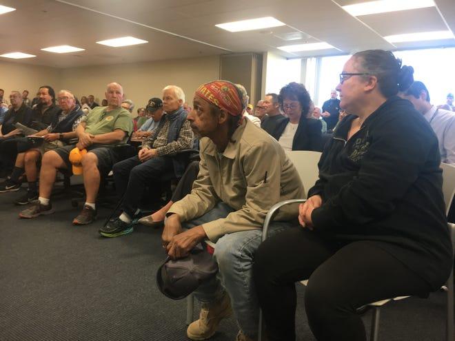 Veterans pack an Oxnard auditorium for a Veterans Affairs town hall.