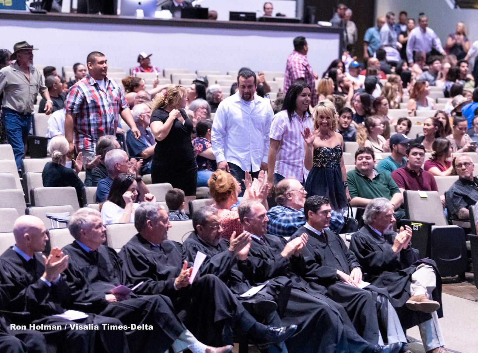 Graduates enter the Tulare County Adult Drug Court Graduation & Commencement Ceremony on Wednesday, April 24, 2019.