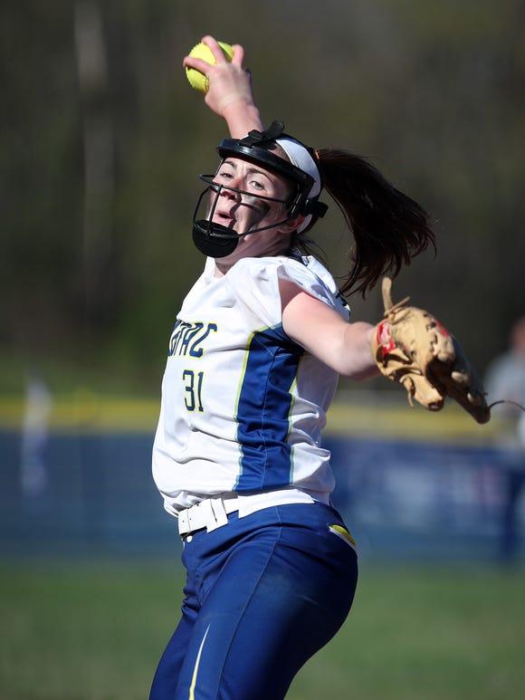 Mahopac's Shannon Becker (31) pitching against John Jay (EF) during softball action at Mahopac High School April 24,  2019. John Jay won the game 2-0.