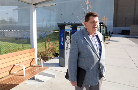Floyd Lapp, a planner, waits for Hudson Link bus, at the Palisades Center April 24, 2019. Lapp is riding the Bus Rapid Transit (BRT) for the first time and sharing his impressions.