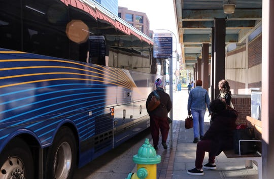 Commuters board the Hudson Link bus, a form of Bus Rapid Transit (BRT), in White Plains April 24, 2019.