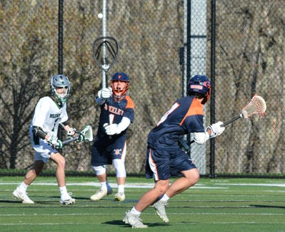 Greeley junior Matt Maitland outlets the ball during a 10-3 win at Brewster on Thursday, April 24, 2019.