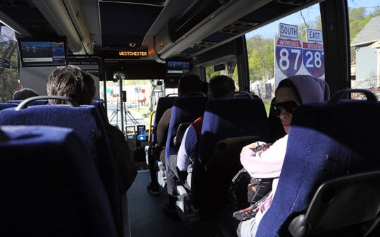 Commuters ride the Hudson Link bus, a form of Bus Rapid Transit (BRT) from Rockland to the White Plains April 24, 2019.