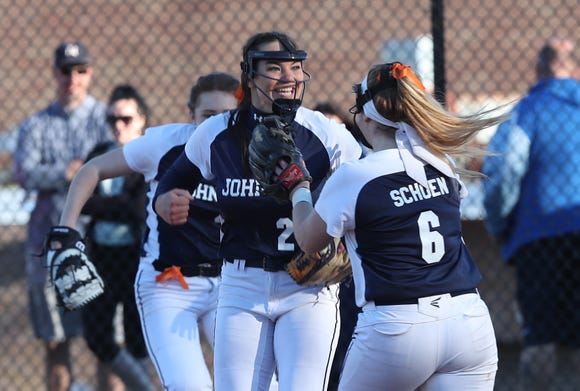 John Jay (EF) Megan Schumacher (27) celebrates with teammates after shutting out Mahopac 2-0 during softball action at Mahopac High School April 24,  2019.