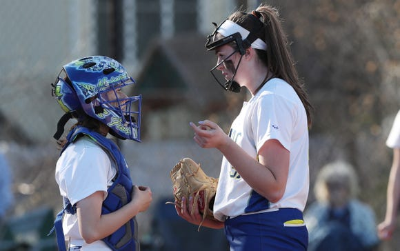 Mahopac's Shannon Becker (31) pitching against John Jay (EF) during softball action at Mahopac High School April 24,  2019.