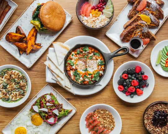 Brunch options at Little Beet Table in New York City. The restaurant is 100% gluten-free.